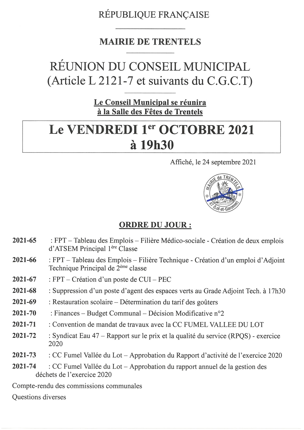 Conseil municipal du 01 10 2021